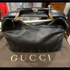 Gucci Black Leather Horsebit Hobo Bag Authentic